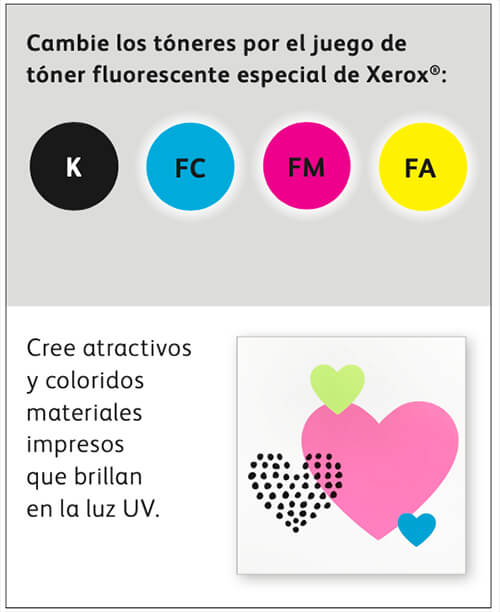 Cribsa Xerox colores fluorescentes impresora A3 A4 Nuevo módulo CMYK+ para la Prensa Versant 180 de Xerox